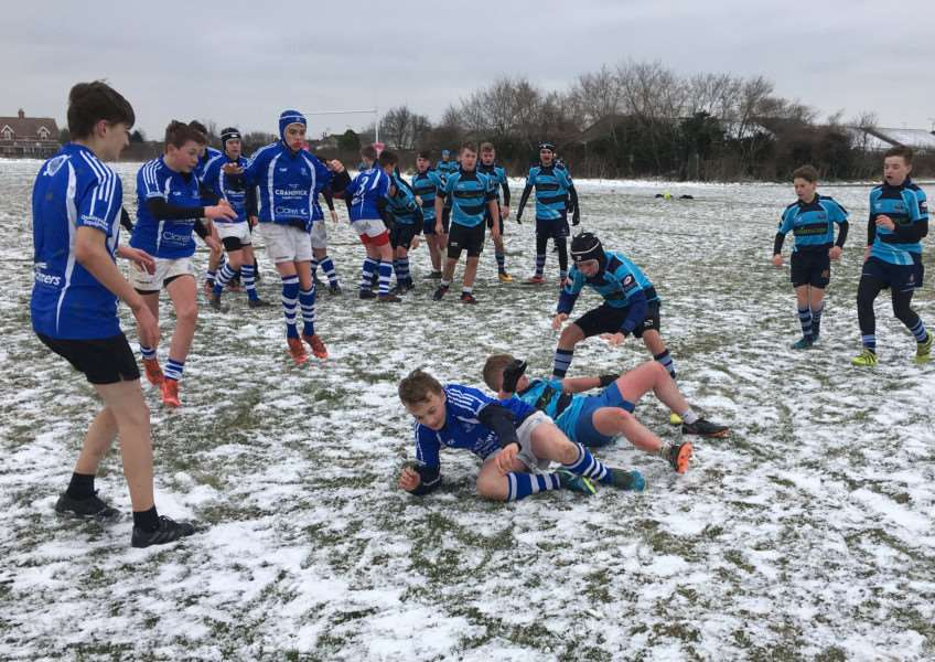 WINTRY SCENE: Action from Diss Under-14s' match at the weekend