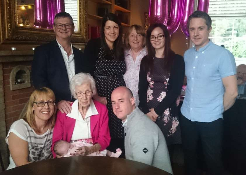 The five generations of Molly Beckett's family, celebrating her 100th birthday. From left (bottom row): Tania Middleton, Molly Beckett, Mollie Middleton-Keen, Craig Middleton-Keen. (Back row): Dennis Middleton, Jessica Middleton-Keen, Averil Womack, Kimara Farrow and Carl Farrow. Photo: Zach Ward.