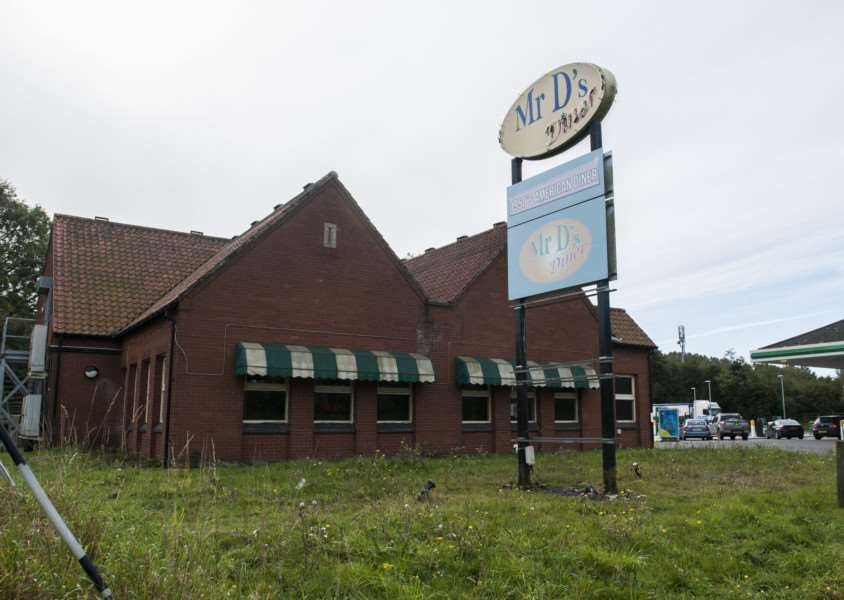 Mr D's Diner Recently closed down restaurant that may soon be redeveloped. Southbound, A11, Attleborough