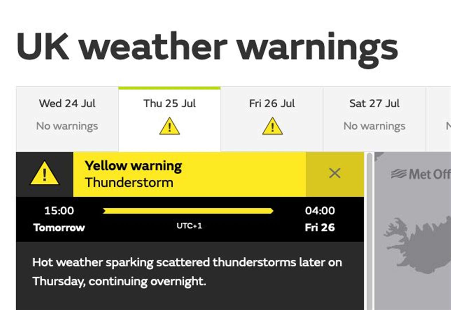 Thunderstorm warning issued for Thursday and Friday