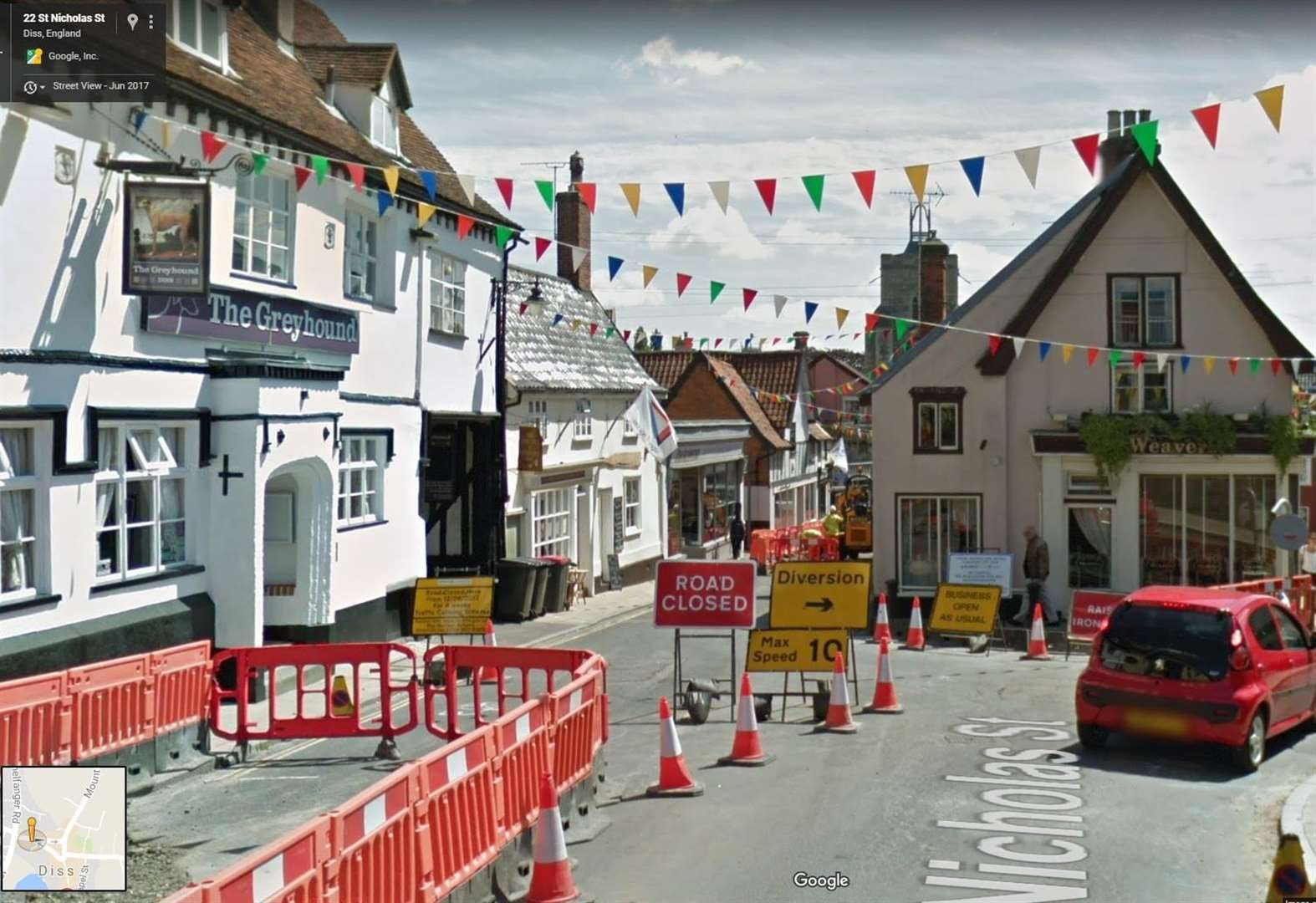 Google Street View images show town in chaos