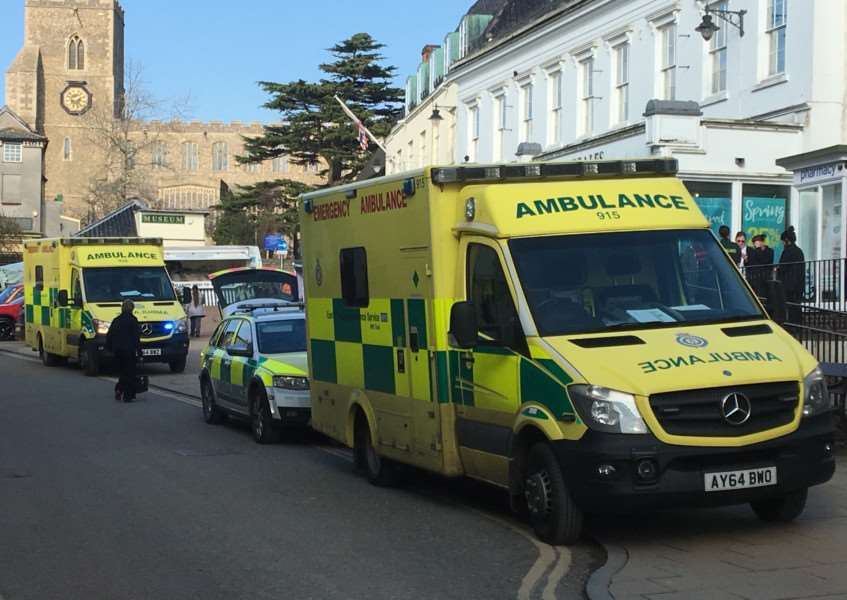 Emergency services in Market Place, Diss. Picture: Chris Morris.