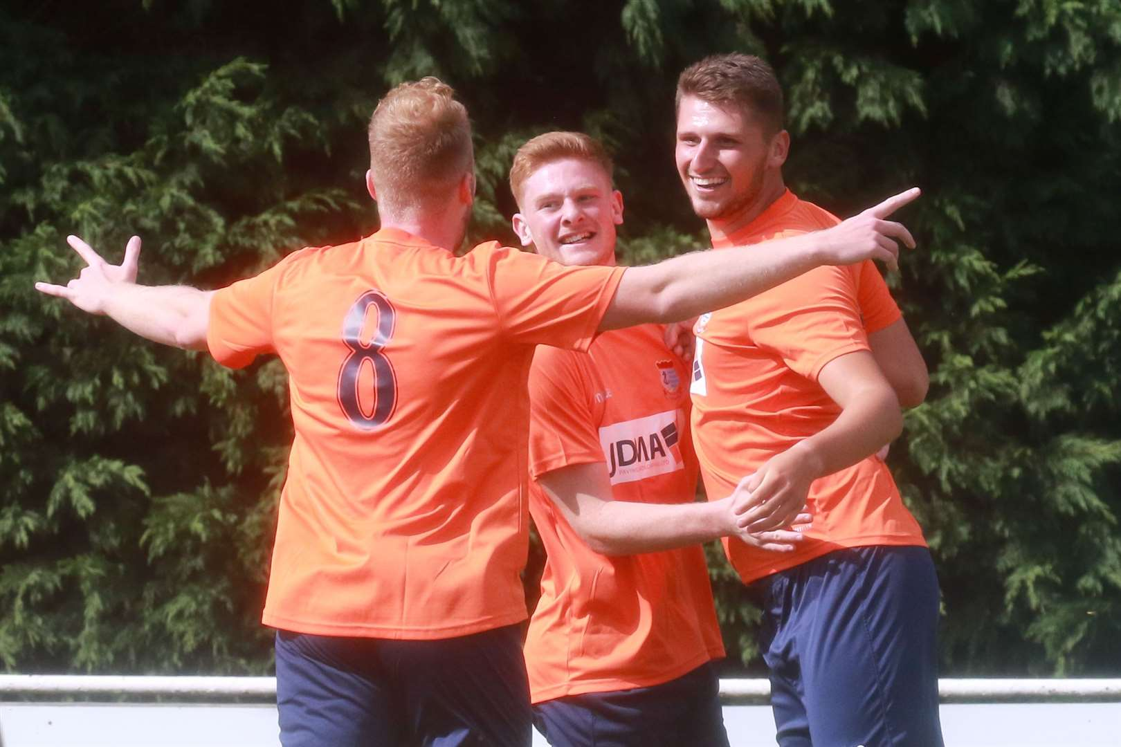 Diss players celebrate opening the scoring against Haverhill Borough at the weekend	Picture: Garry Donnison