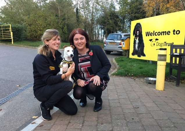 PUPPY PLIGHT: MEP Alex Mayer (right), with Kate Brewster and Meg from Dogs Trust Snetterton.