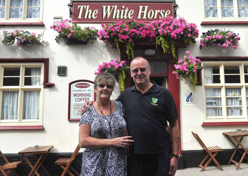 Peter and Jan Mills are leaving the White Horse, Diss, after 26 and a 1/2 years ANL-150508-144253009