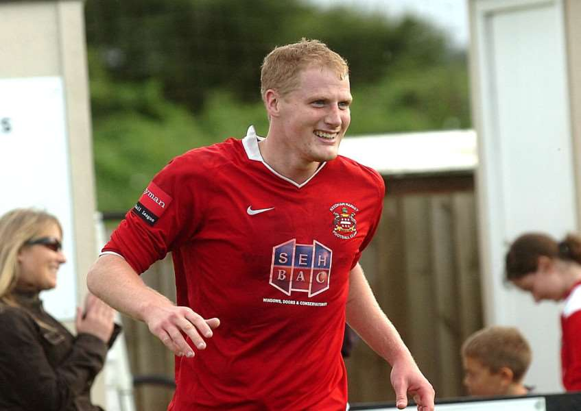 NEW STRIKER: Nathan Stone (pictured playing for Needham Market) has joined Harleston Town