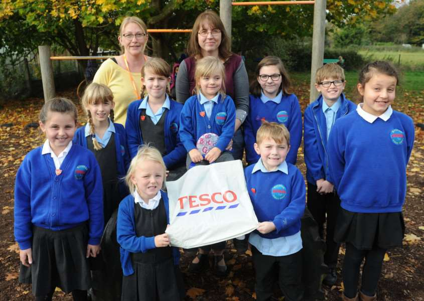 Mendham Primary School are in the running for funding from Tesco bags for life. ''Pictured: Staff involved and school council'''PICTURE: Mecha Morton