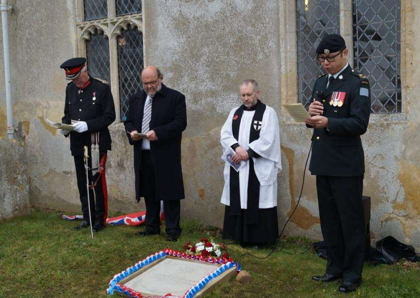 Lord Lieutenant of Norfolk, Richard Jewsom, Graham Moore chairman of Scole Parish Council, Rev Canon Nigel Tuffnell, Major Al Wong Lord Strathcona Horse Regiment reading the Citation at St Leonards Church, Billingford