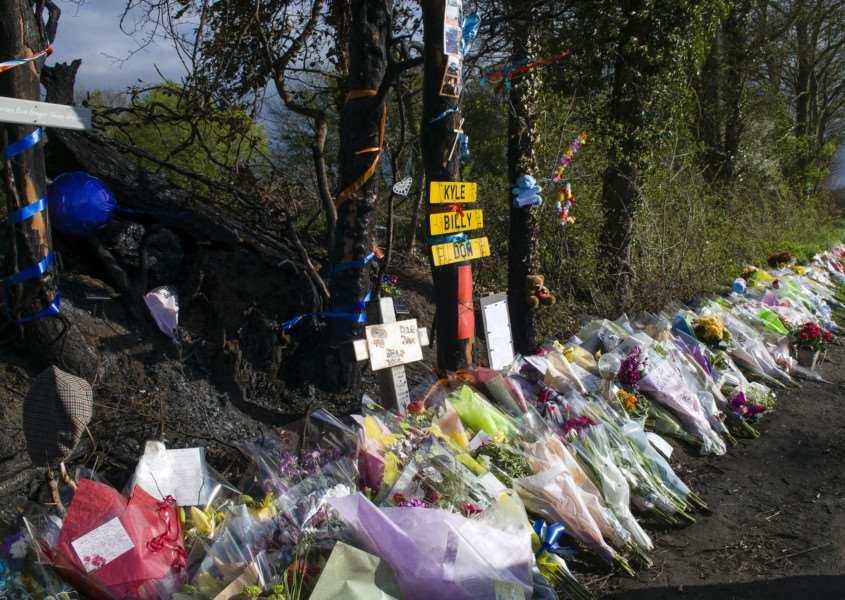 "Pulham Market, Norfolk. Flowers and tributes at the scene of the crash in Pulham Market, where three teenagers Kyle Warren, 17, Billy Hines, 16, and Dominic O�""Neill, 18, died following the accident on April 6 on Tivetshall Road just outside the village. ''Picture: MARK BULLIMORE PHOTOGRAPHY"