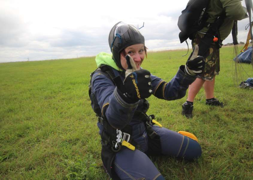 Alana Gudge, of Cotton, took part in a tandem skydive to raise funds and awareness for Ovarian Cancer Action. ANL-150915-102254001