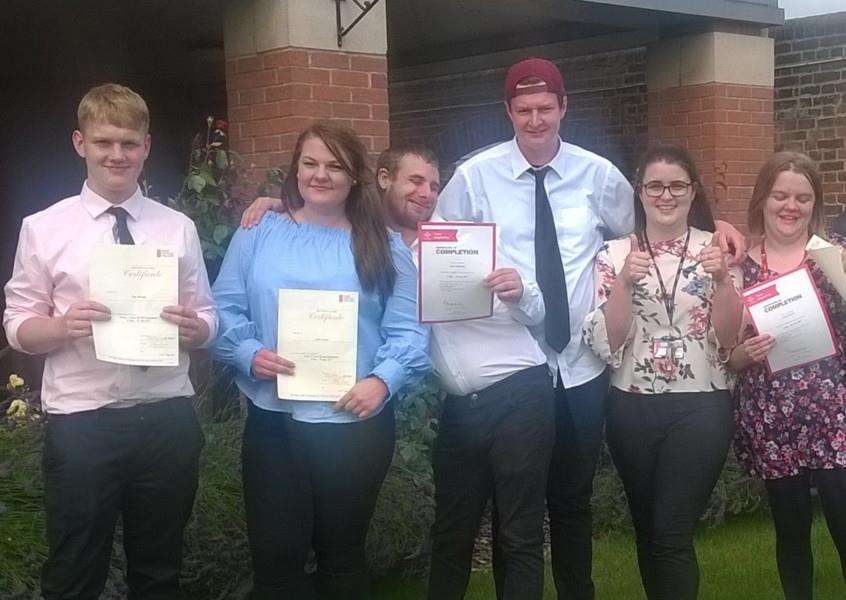Successful participants in the Prince's Trust programme based at West Suffolk College. Left to right: Tom Mclean (Elmswell), Liene Vingre (Sudbury), Curtis Hounslea (Bury St Edmunds), William Bloomfield (Thetford), and Laura Robson (Diss).