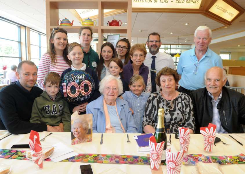 Lilian Blogg celebrated her 100th Birthday with family at Diss Morrisons PICTURE: Mecha Morton