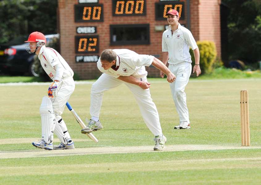 AMONG THE WICKETS: Andy Lawrence, pictured previously in the season, was among the wickets in Old Buckenham's 124-run victory over reigning champions Downham Town
