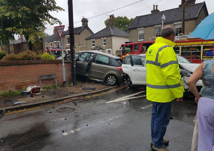 Accident in Louie's Lane, Diss. Photo: Tim Davey.