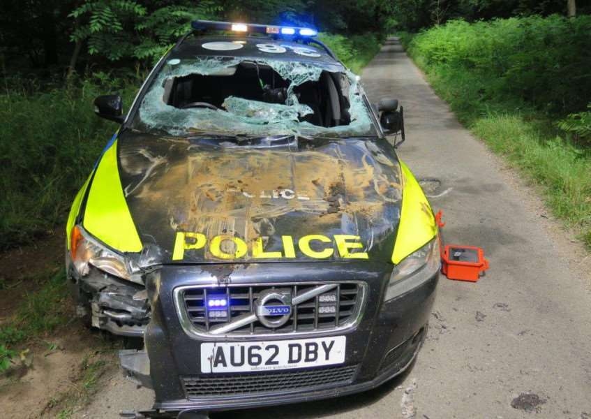Police are appealing for witnesses after a dumper truck was stolen near Norwich and driven dangerously through the county to Brandon. Pictured: the damaged Volvo, which was written off ANL-150722-125521001
