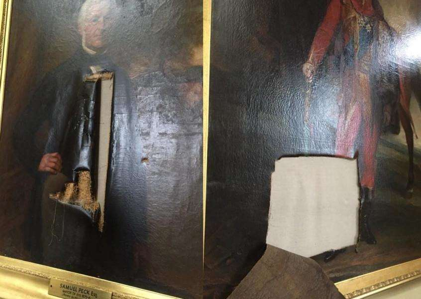 Paintings vandalised at Eye Town Hall, Suffolk. Picture: Contributed.