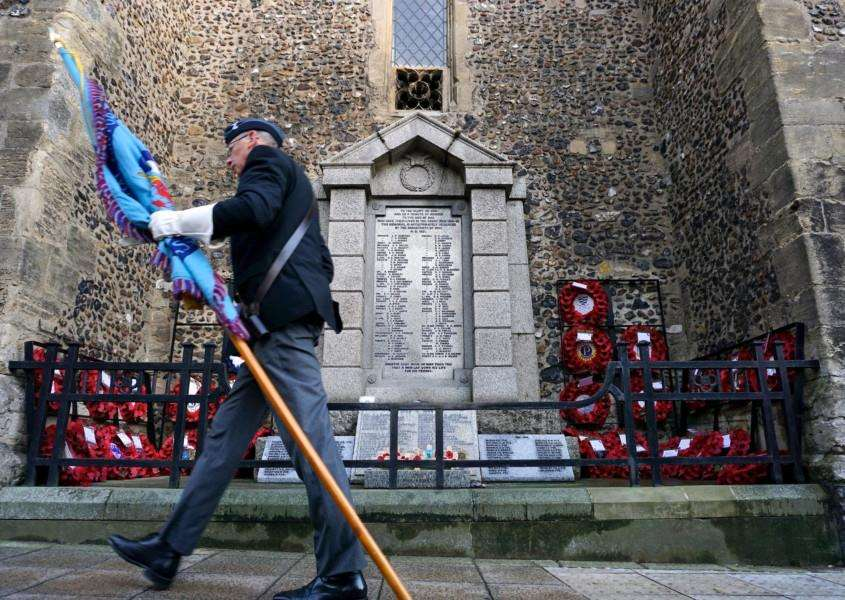 Diss, Norfolk. Remembrance Day Parade through Diss starting at the United Reformed Church and finishing at the War Memorial at St Mary's Church. ''Picture: MARK BULLIMORE PHOTOGRAPHY