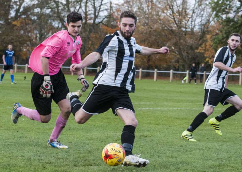 ON TARGET: Nathan Russell scored for Harleston on Monday night
