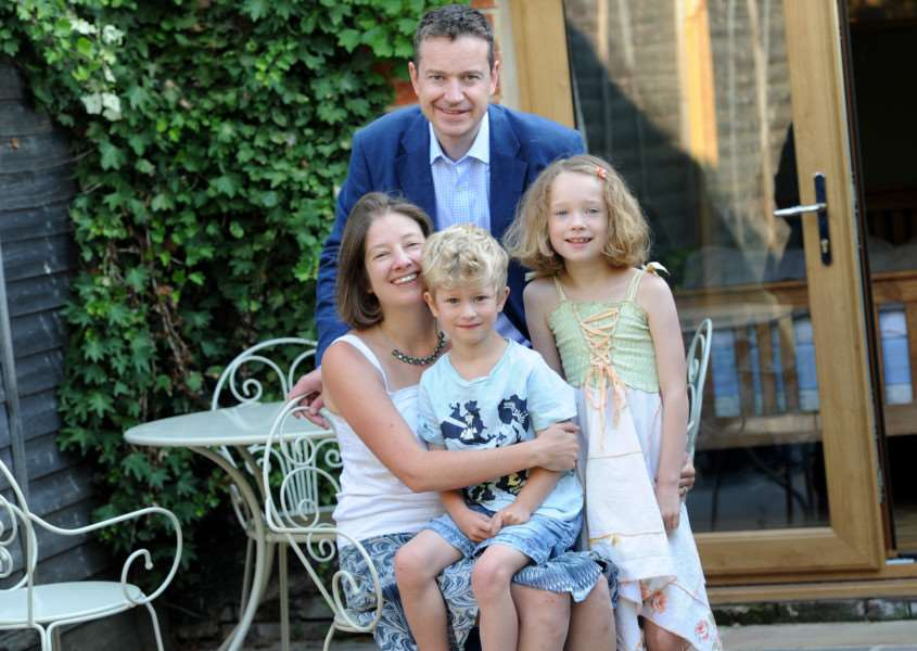 Mandy Hartley started her own business, a DNA workshop for children, and has now been nominated for a national award''Pictured; Mandy Harley with husband Jonathan, Harry (6), Annabelle (9) and Milly the dog ANL-160831-115653009