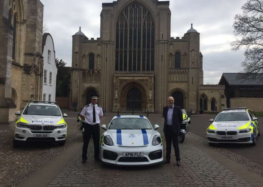 Chief Constable Simon Bailey and Graham Dacre, of the Lind Turst charity with the Porsche Cayman GT4