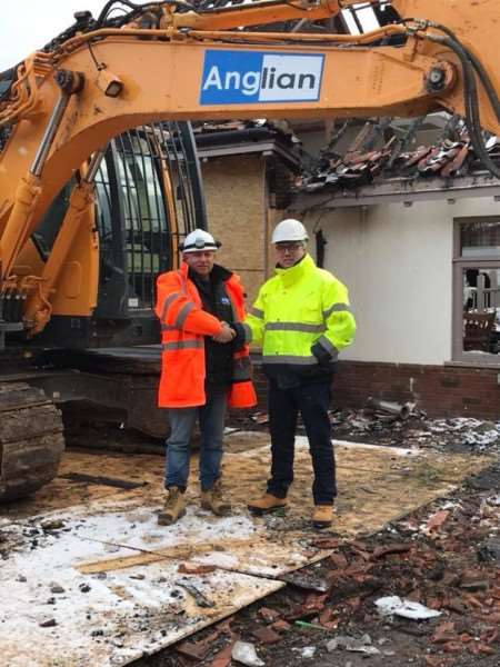 Lee Storer, of Anglian Demolition, with Colin Kilby, general manager of Breckland Lodge. Submitted picture.