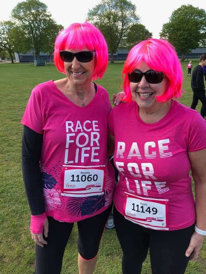 Bev Poole and Rosie Riches at Race for Life