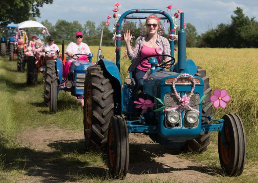 Off road at the Pink Ladies' Tractor Road Run in 2016. Photo: Jonathan Slack
