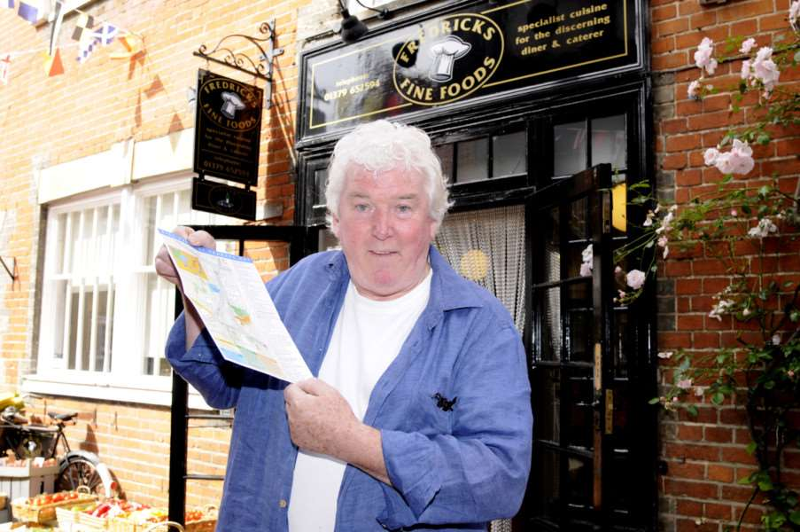 John Atkinson of Fredericks fine foods has made a map of heritage Diss as a mail drop. ANL-160607-110300005
