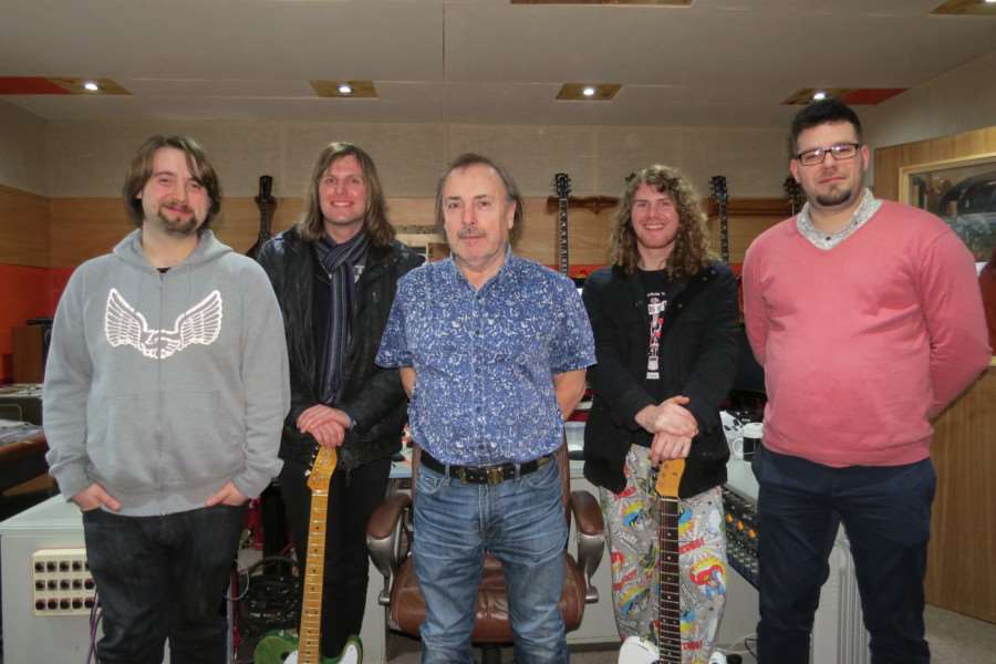 Original Status Quo drummer John Coghlan (centre) with Redgrave-based rock band Walkway. Submitted photo.