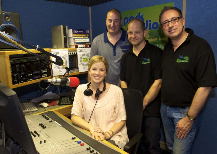 Diss, Norfolk. Becky Jago opens a Park Radio 28-day temporary broadcast in 2011, pictured with Dave Williams, John Cross and Chris Moyse ENGANL00120110905122846