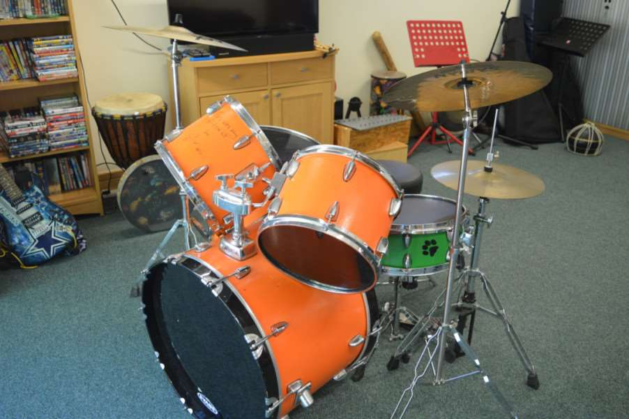 The drum kit of Ed Sheeran, which has been signed and is up for auction, raising money for EACH. ANL-161024-155742001