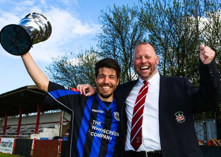 JUST REWARDS: Needham market manager Mark Morsley (right) has been handed a new five-year deal after guiding the club to the Ryman League Division One North title