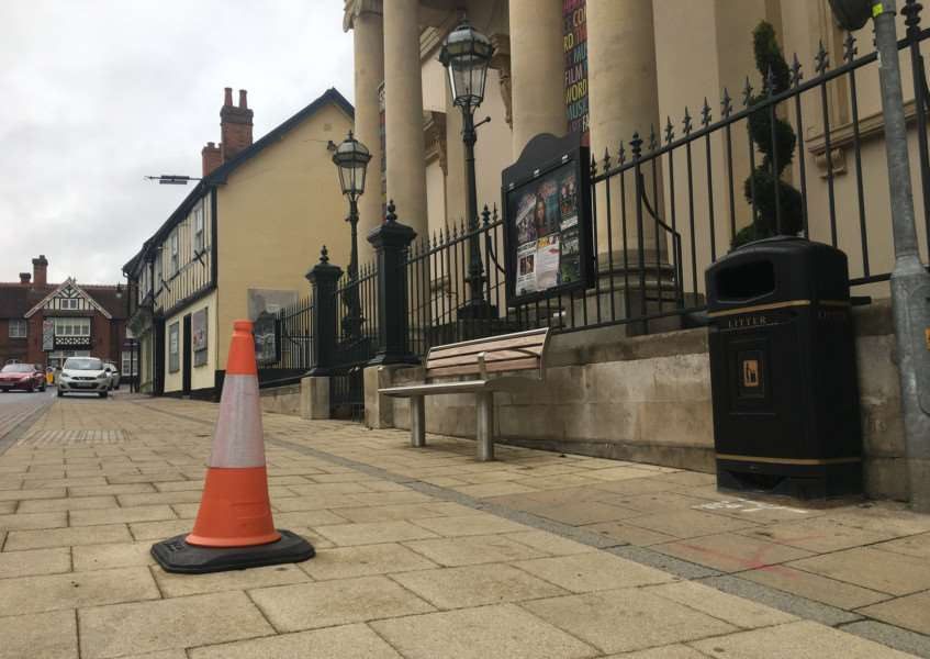 The spot where the toblerone was damaged outside the Diss Corn Hall in the Heritage Triangle. Photo: Andrew Martin.