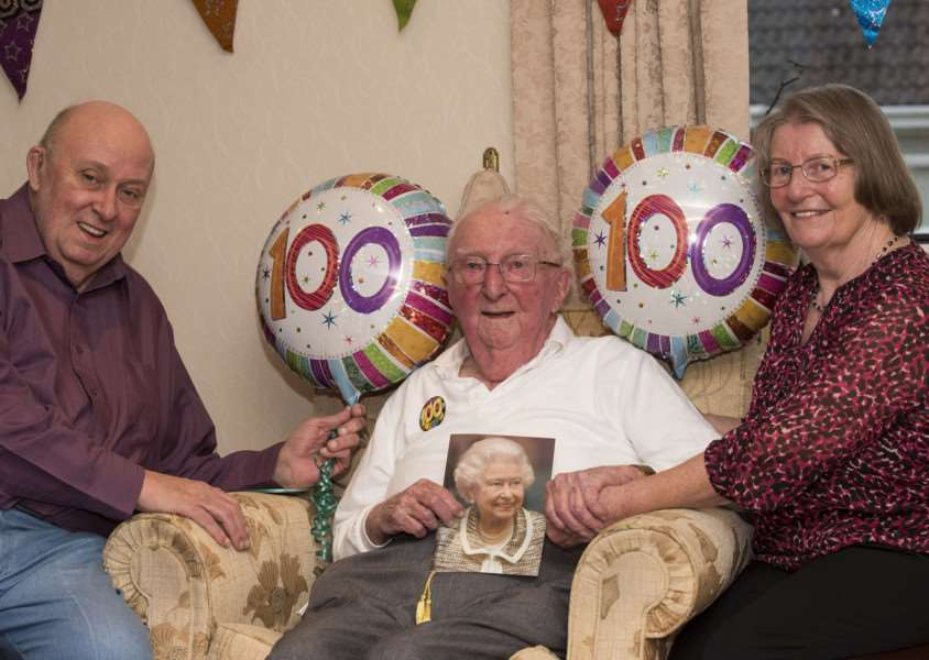 Jack Chapman celebrates his 100th birthday with daughter Jean Baird and her husband Ian. 'Picture Mark Westley
