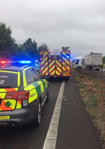 Emergency services arrive at the scene of the crash near the Stag roundabout on the A11 at Attleborough. Photo: Norfolk Accident Rescue Service / Twitter - @NARSBASICS