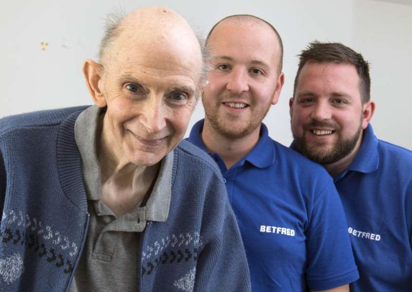 Michael Base, 72, with Jamie Scales (right) and his Betfred colleague, Jack Bell. Picture: Jon Parker Lee.