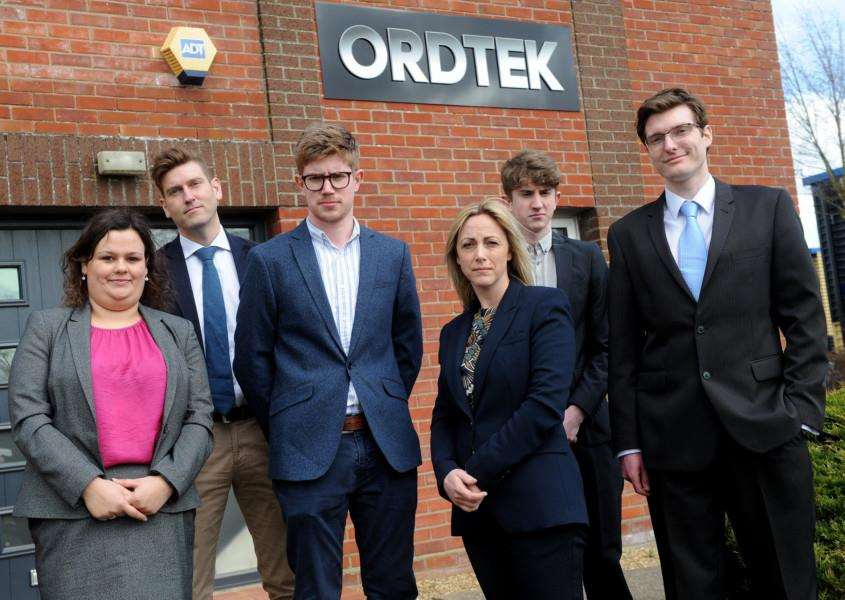 Ordtek Ltd have secured new contracts in the USA and Taiwan Pictured: Kate Grimley, Lee Gooderham, Robin Broadley, Ben Broadley, Lisa Baggaley and Henry McPartland PICTURE: Mecha Morton