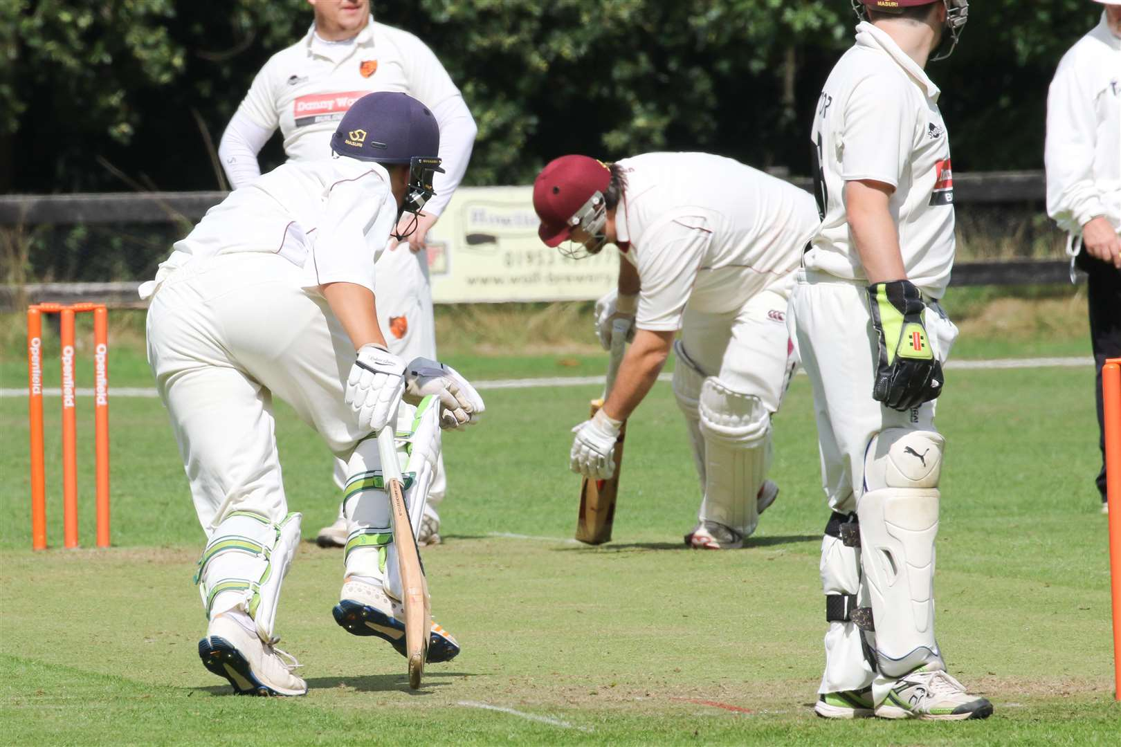 GIVING THEIR ALL: Old Bucks opener Matthew Bint and James Heaney try to mount up the runs (Picture: Gary Donnison)