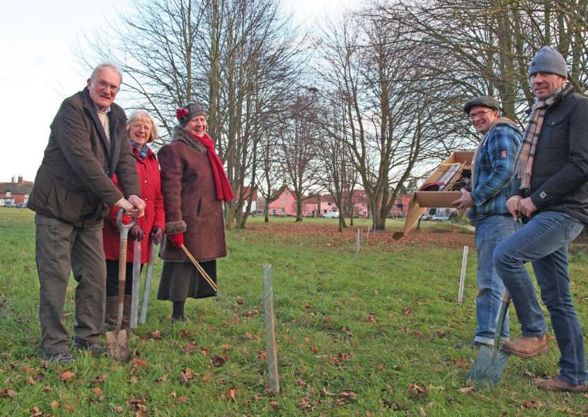 Diss Waveney rotarians have planted trees at Fair Green, Diss, in a bid to improve the environment ahead of next year's Earth Day.