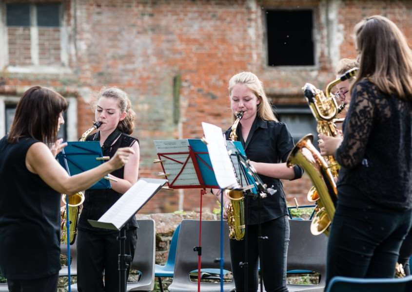 Pupils from Debenham High School perform at the grounds of Crow's Hall. PICTURE: CHRISTOPHER GROVER.