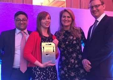 Left to right: Nik Maden, president of Propertymark, winner Hannah Bavin, TW Gaze lettings manager Jenna Goodall Browne, and David Cox, chief executive of Propertymark. Submitted photo.