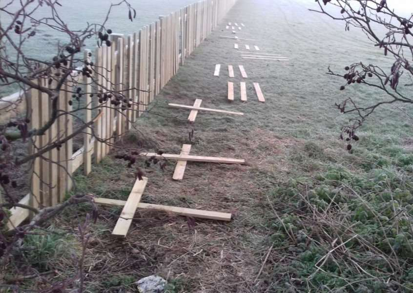 Crosses made from the fence in Gaymers Meadow in Attleborough, Norfolk. Picture: Attleborough Town Council / SWNS.