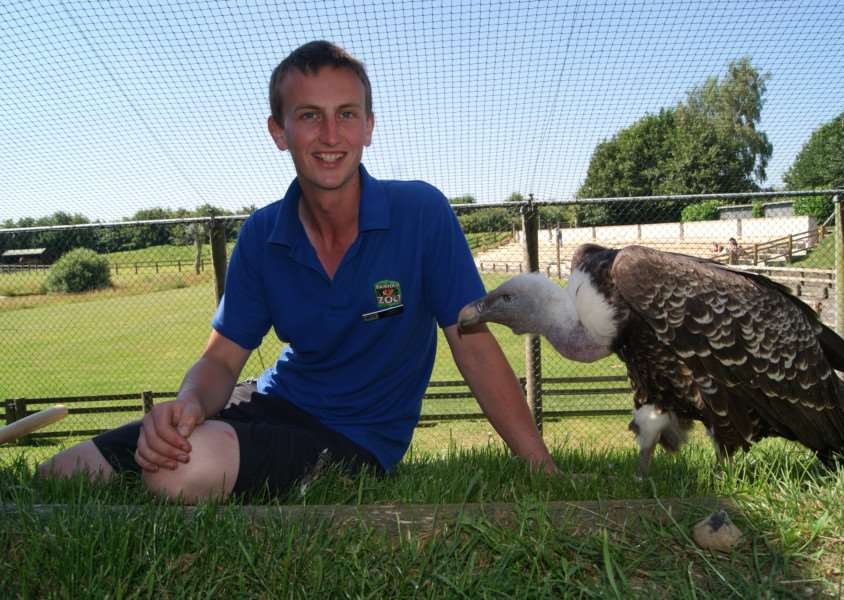 Peter McLaren, an animal trainer and presenter at Banham Zoo, is to spend 48 hours in a vulture aviary for charity. ANL-160824-155141001