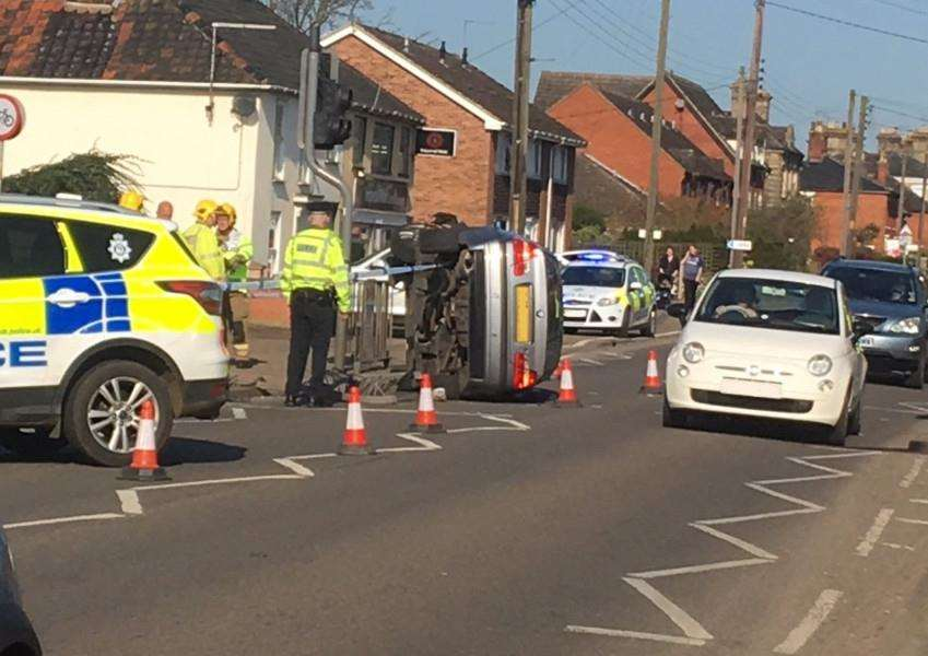 Police on the scene of a road traffic collision on Vitcoria Road, Diss.