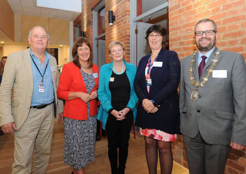 Formal opening of Heritage Triangle and Corn Hall Programme. Pictured: David Case (Trustee), Sheila King (Programme Manager), Helen Wilson (Chair committee for the East of England Heritage Lottery Fund), Deborah Sarson (Town Clark) and Mayor of Diss Trevor Wenman PICTURE: Mecha Morton
