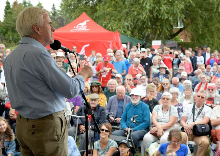 Burston, Norfolk. Burst Strike School Rally. John McDonnell MP Shadow Chancellor talking on the stage. ''Picture: MARK BULLIMORE