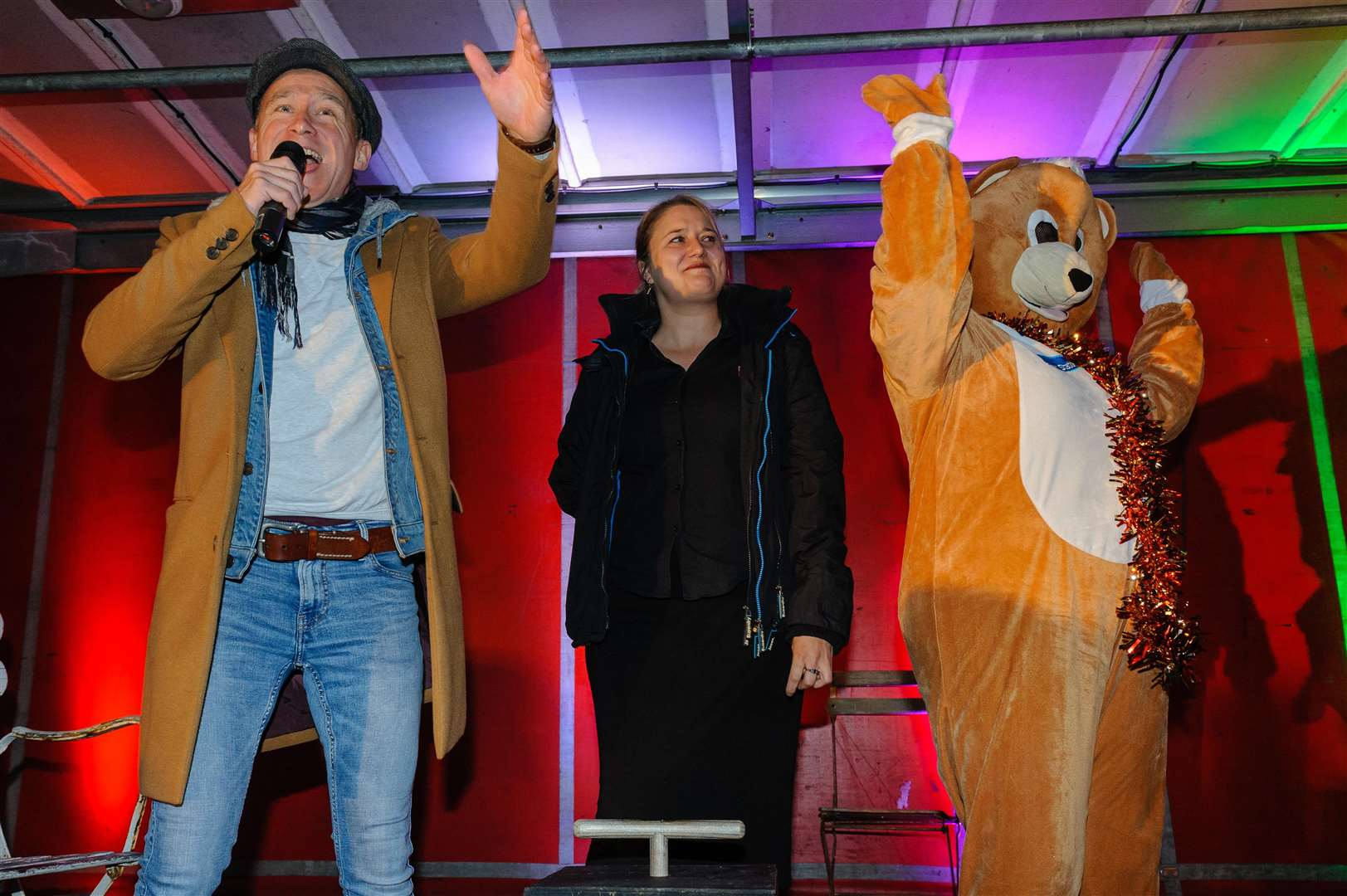 Harleston Christmas Lights Switch-On by Britain's Got Talent Star Ben Langley with Beth Goodswen of J D Young Hotel and Parky Bear. Picture by Mark Bullimore Photography