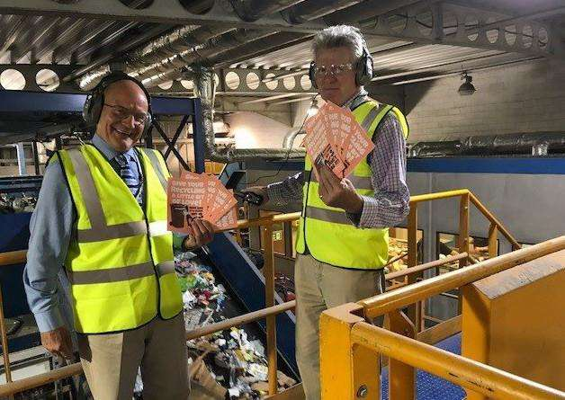 Left to right: Chairman of the Norfolk Waste Partnership, Cllr John Fisher and the High Sheriff of Norfolk, Mr James Bagge at Norfolk's Materials Recovery Facility operated by Norse Environmental Waste Services. Picture: Norfolk Waste Partnership.