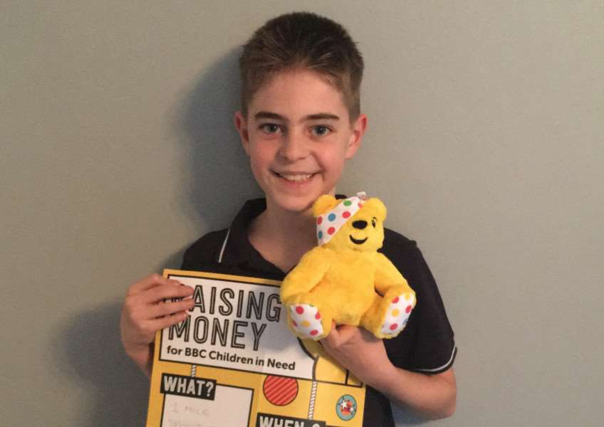 Aiden Farrow, 10, will be swimming a mile to raise money for Children in Need. Picture: Rachel Farrow.
