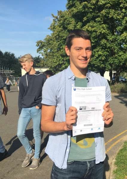 Diss High School pupil Will Johnson gets 11A*/9. Picture: Andrew Martin.